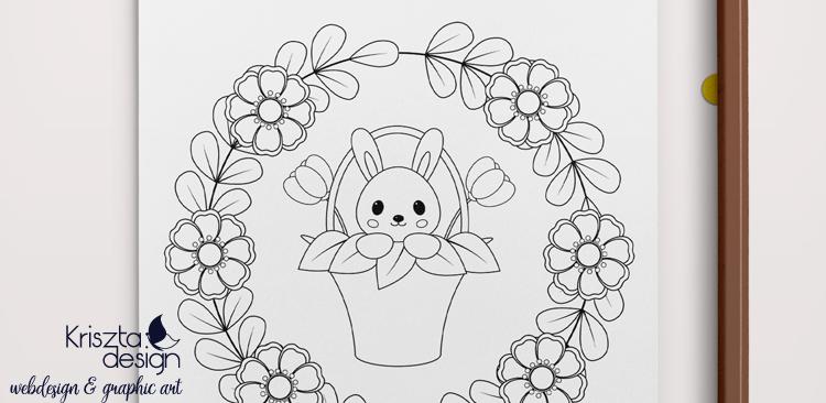 Letölthető színezőlapok: Húsvéti nyuszi barackvirágokkal