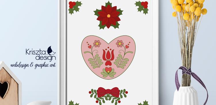 Letölthető színezőlapok: Magyar szíves motívum mikulásvirággal
