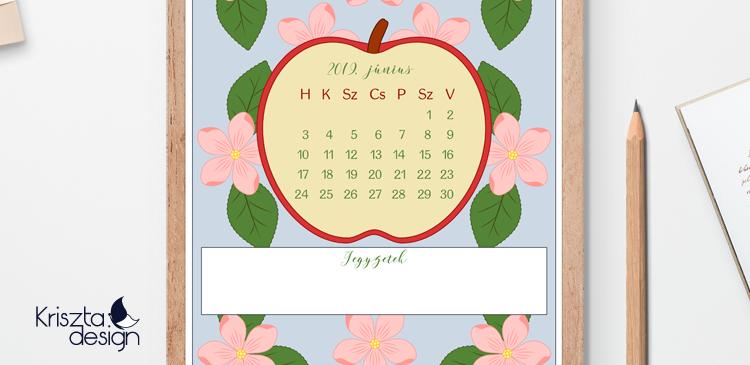Almavirágos júniusi letölthető színezhető naptár